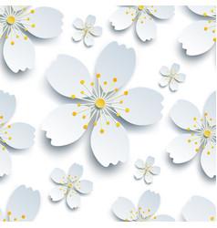Oriental seamless pattern with white sakura flower vector