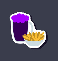 paper sticker beer and nuts vector image