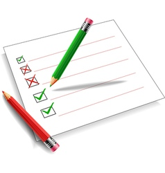 Pencil green and red background white vector image