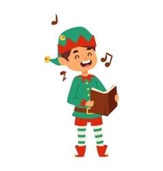 Santa claus kid cartoon elf helper vector