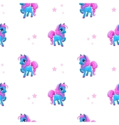 Seamless pattern with little cartoon blue pony vector