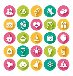 Set of 25 flat icons vector image vector image