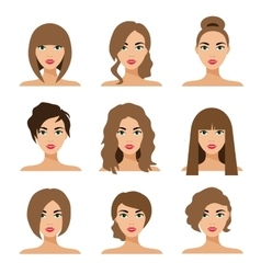 Set of woman hair styling flat vector image