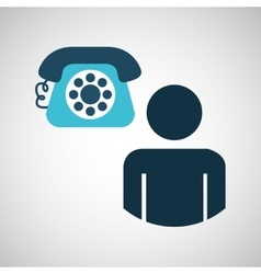 silhouette blue man telephone call design icon vector image