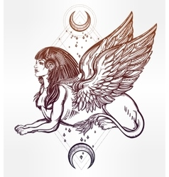 Sphinx beautiful beast with moons vector image vector image
