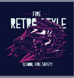 T-shirt label design with vintage fire truck vector