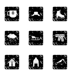 Winter frost icons set grunge style vector image vector image