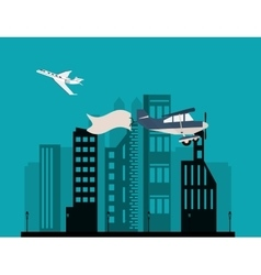 Airplane and advertising banner over city vector