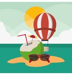 Hot air balloon of travel and tourism concept vector