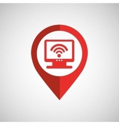 monitor wireless concept wifi pin icon vector image