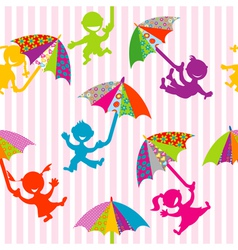 Children silhouettes with doodle umbrellas vector