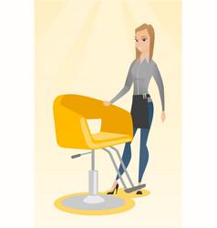 Hairdresser at workplace in barber shop vector
