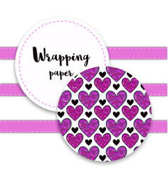Valentines wrapping pattern with ornament hearts vector