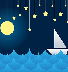 Boat at sea waves moon and star vs vector