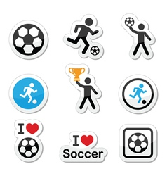 I love football or soccer man kicking ball vector image