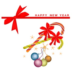 New Year Card with Christmas Balls and Candy Canes vector image
