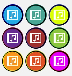Audio mp3 file icon sign nine multi-colored round vector