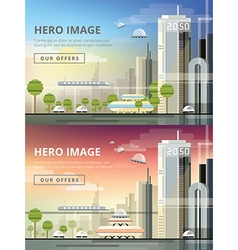 Set of website hero images in flat design style vector