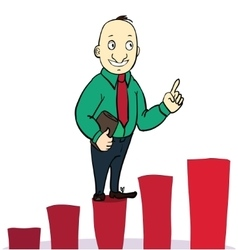 Businessman jump over growing chart concept vector