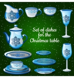 Set of dishes for lush festive table 11 icons vector