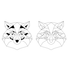 Front view of fox head triangular icon vector