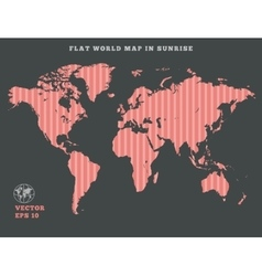 World map striped rose map silhouette on dark vector