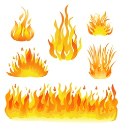 Fire and flames set vector