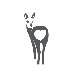 Deer in minimalism style icon flat monochrome vector