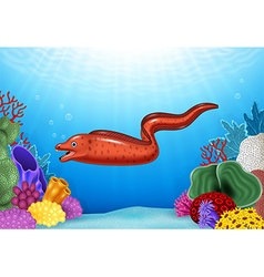 Cute moray eel with coral reef underwater in ocean vector