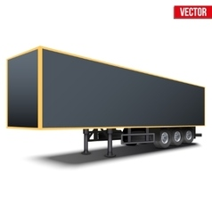 Blank black parked semi trailer vector