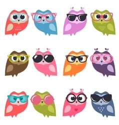 Cute owlets and owls with sunglasses vector image
