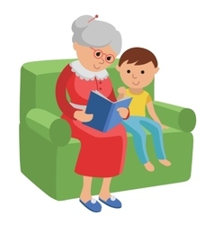 Featuring an elderly woman reading a vector