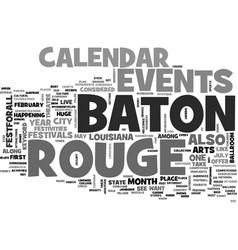 Baton rouge calendar of events text word cloud vector