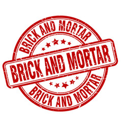 Brick and mortar red grunge stamp vector