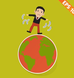 Cartoon businessman walking on the earth - - vector