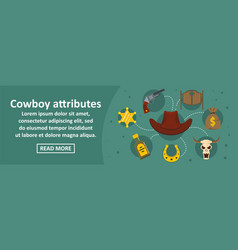 cowboy attributes banner horizontal concept vector image