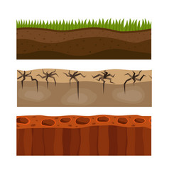 cross section ground slice isolated grownd piece vector image vector image