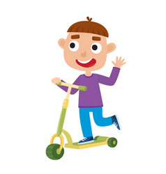 Cute of boy on scooter having vector