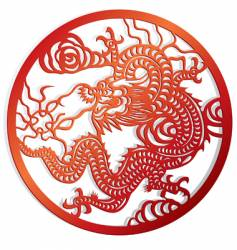Dragon cut of chinese style vector