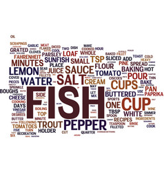 Fish recipes text background word cloud concept vector