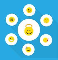 Flat icon emoji set of grin hush angel and other vector