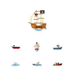 flat icon ship set of boat delivery vessel and vector image vector image