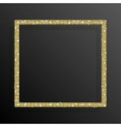 Frame gold sequins square glitter sparkle vector