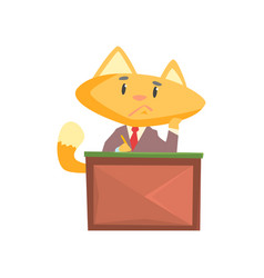 Funny businessman fox in a suit sitting at the vector