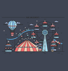 Horizontal banner with amusement park circus vector