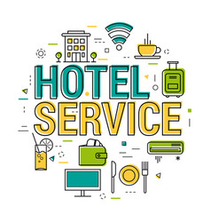 hotel service letters - line concept vector image