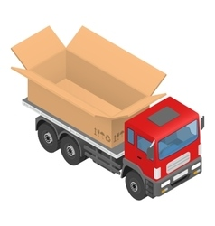 Isometric red cargo truck with cardboard box vector image vector image