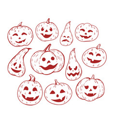 large set of isolated pumpkin halloween hand vector image