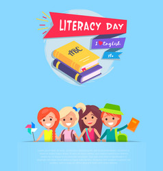 literacy day light-blue on vector image