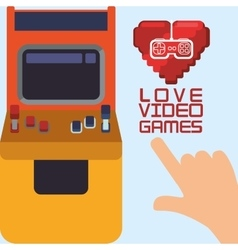 Love video games arcade heart control vector